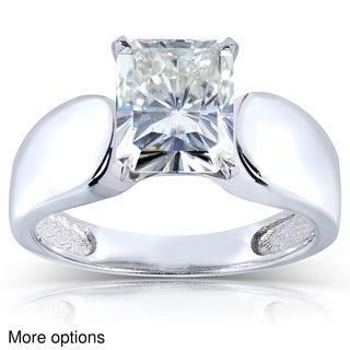 Annello 14k White Gold Radiant Moissanite Solitaire Ring with Bonus Item