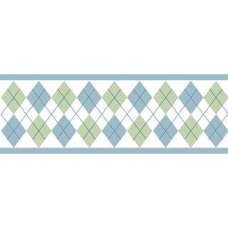 Sweet JoJo Designs Blue and Green Argyle Wall Border