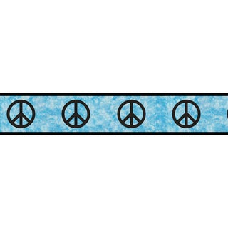 Sweet JoJo Designs Turquoise Groovy Peace Sign Tie Dye Wall Border