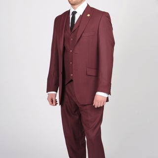 Stacy Adams Men's Burgundy Two-button Vested Suit