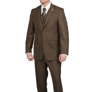 Stacy Adams Men&#39;s Brown 2-button Vested Suit