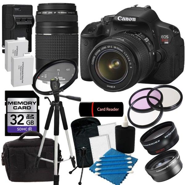 Canon EOS Rebel T4I Digital SLR Camera w/ 18-55 IS II & 75-300 III Lens with 32GB Bundle