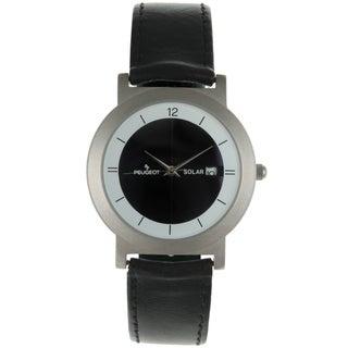 Peugeot Women's '590' Black Leather Solar Watch