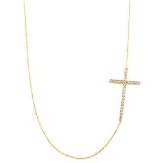 Fremada 14k Yellow Gold Cubic Zirconia Sideways Cross Adjustable Necklace