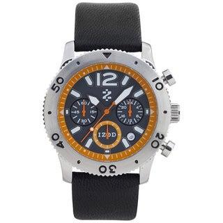 Izod Men's Black/ Orange Leather Strap Quartz Watch