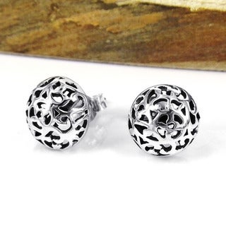 Sterling Silver Filigree Swirl Dome Post Earrings (Thailand)