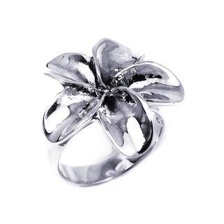 Silver Sweet Hawaiian Plumeria Flower Ring (Thailand)