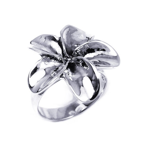 Silver Sweet Hawaiian Plumeria Flower Ring (Thailand)