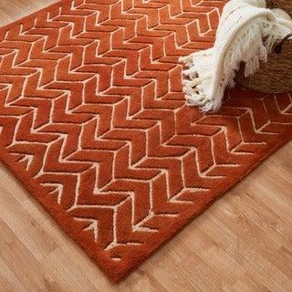 Hand-tufted Logan Tangerine Wool Rug (9'3 x 13')