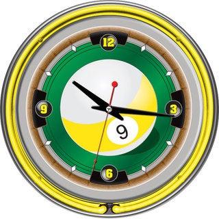 Rack'em 9 Ball 14-inch Neon Wall Clock