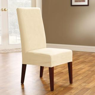 Soft Suede Cream Short Dining Chair Cover
