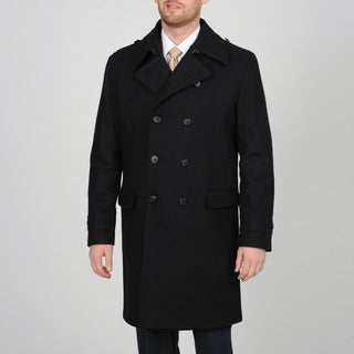 Alfani Men's Black Wool-blend Double Breasted Peacoat