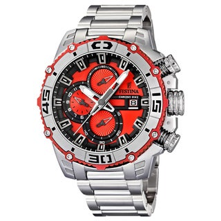 Festina Men's 'Tour De France' Stainless Steel Red Dial Watch