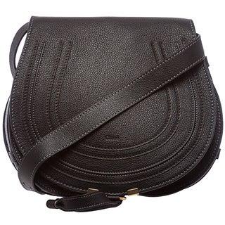 Chloe 'Marcie' Medium Black Leather Round Crossbody Bag