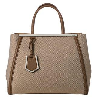Fendi '2Jours' Latte Checkerboard Canvas Shopper Bag