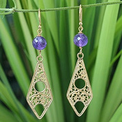 Gold Overlay 'Chiang Mai Chic' Amethyst Filigree Earrings (Thailand)
