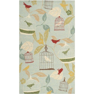 Hand-hooked Canaries Pear Green Indoor/Outdoor Rug (3' x 5')