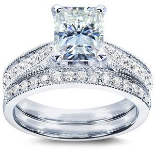 Annello 14k Gold Radiant Moissanite and 1/3ct TDW Diamond Bridal Ring Set (G-H, I1-I2) with Bonus Item