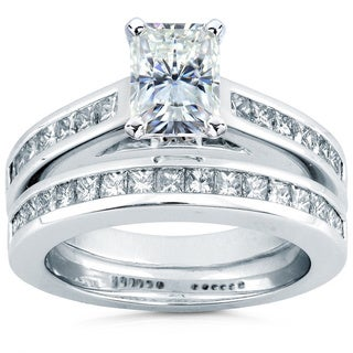 Annello 14k White Gold Moissanite and 1ct TDW Diamond Bridal Ring Set (H-I, I1-I2)