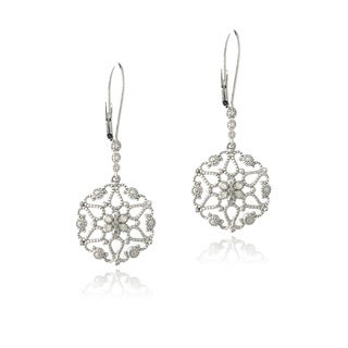 DB Designs Sterling Silver 1/10ct TDW Diamonds Filigree Earrings (J, I3)