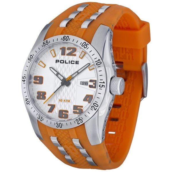 Police Men's 'PL.12557JS/04' Orange Rubber Strap Quartz Watch