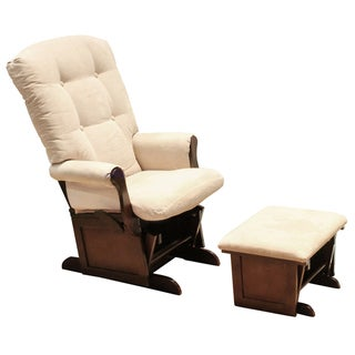 DaVinci Sleigh Multi-position Lock Beige/ Espresso Glider and Ottoman Set