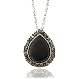 Dolce Giavonna Silverplated Black Onyx Teardrop and Marcasite Necklace
