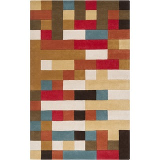 Hand-tufted Multicolored Geometric Puzzle Wool Rug (8' x 11')