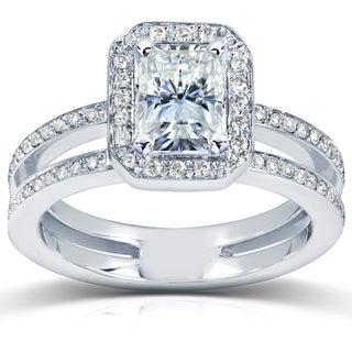 Annello 14k White Gold Radiant-cut Moissanite and 1/3ct TDW Diamond Engagement Ring (G-H, I1-I2)