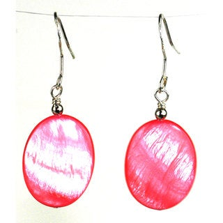 Handmade Pink Mother of Pearl Shell Oval Earrings (China)