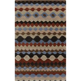 Hand-tufted Blue Geo Desert Sand Geometric Shapes Wool Rug (8' x 11')