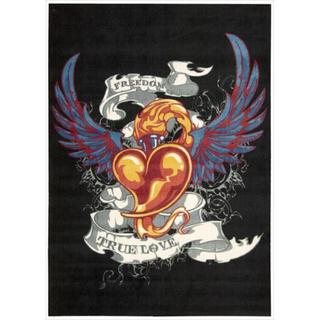 Altered State 'Tattoo Inspired Heart' Black Rug (5' x 7')