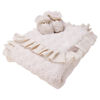 Trend Lab Cream Swirl Velour Luxe Blanket and Booties Gift Set