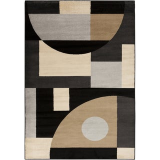 Black Shapes Espresso Rug (7'9 x 11'2)