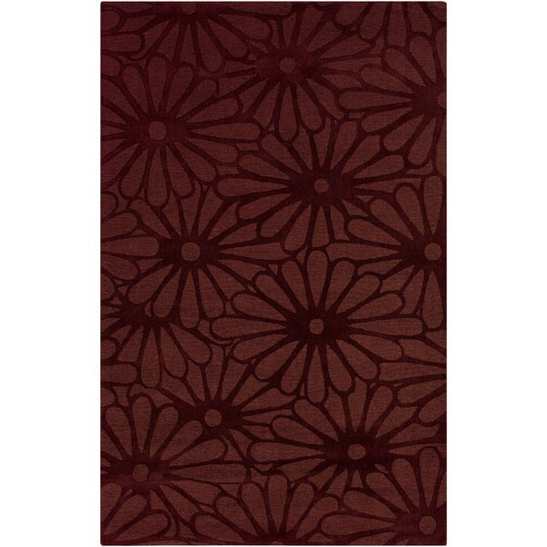 Hand-crafted Scarlet Daisies Red Floral Wool Rug (3'3 x 5'3)