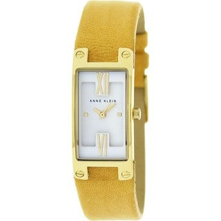 Anne Klein Women's Yellow Leather Strap Quartz Watch