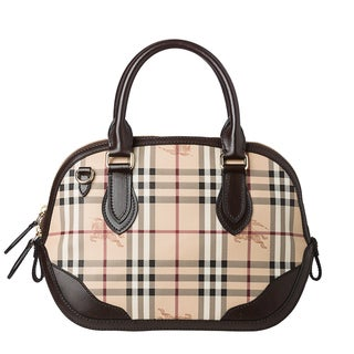 Burberry 'Orchard' Small Haymarket Check Leather Trim Satchel Bag