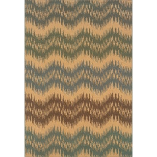 Indoor Ivory/Blue Area Rug (3'10 x 5'5)