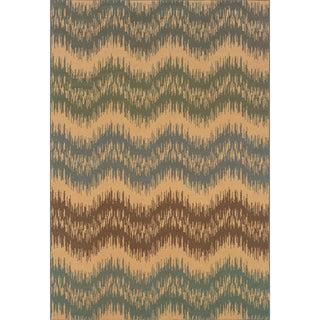 Indoor Ivory/ Blue Area Rug (6'7 x 9'6)