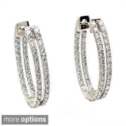 Beverly Hills Charm 14k Gold 1 1/4ct TDW Diamond Oval Hoop Earrings (H-I, I1)