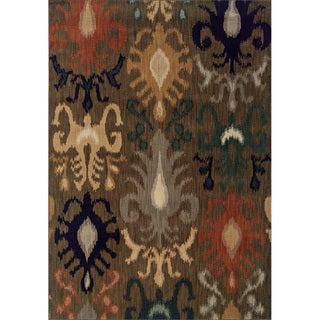 Indoor Brown/Navy Area Rug (6'7 x 9'6)