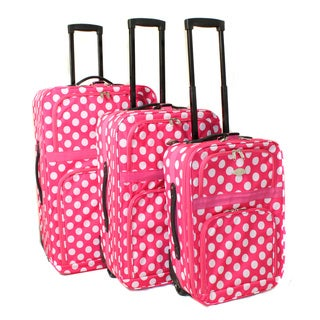 Polka Dot 3-piece Expandable Rolling Upright Luggage Set