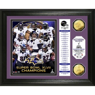 Baltimore Ravens Super Bowl XLVII Champions Gold Coin Banner Photo Mint