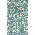 Hand-hooked Blue Jay Flowers Blue Indoor/Outdoor Rug (5' x 7'6)