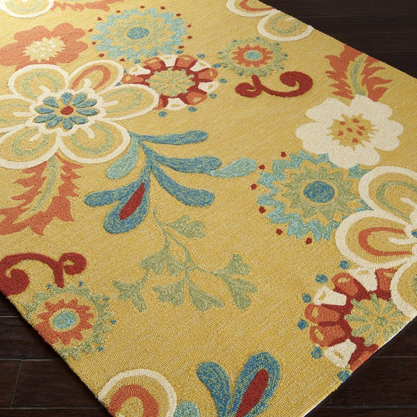 Hand-hooked Summer Daises Daffodil Indoor/Outdoor Floral Rug (5' x 7'6)