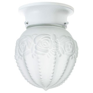Flush Mount in Textured White Etched Glass 1-light
