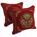 Blazing Needles &#39;Exotic Flowers&#39; Chenille Corded Throw Pillows (Set of 2)