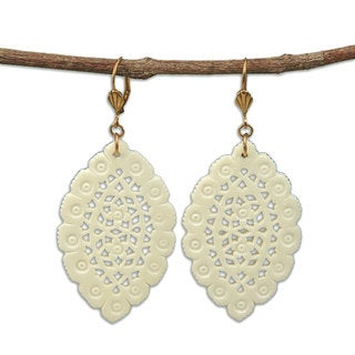 Lacy Leaf-shaped Natural Carved Bone Earrings (India)