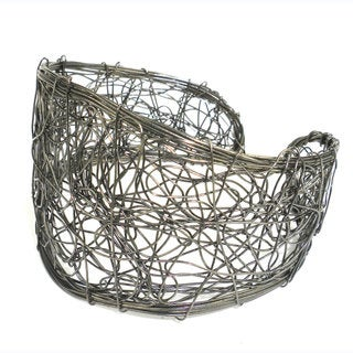Handmade Scribble Design Gunmetal Wire Cuff (India)