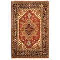 Indo Hand-knotted Heriz Red/ Navy Wool Rug (4&#39; x 6&#39;)
